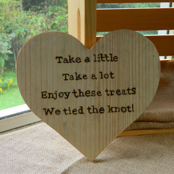 10 Wooden Heart Sign For Wedding Or Party Candy Table Buffet D