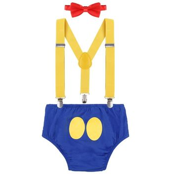 Donald Duck Baby Boy Cake Smash 1st 2nd Birthday Outfit Suspender Shorts Bowtie Set Photo Prop Birthday Party Outfits Clothes