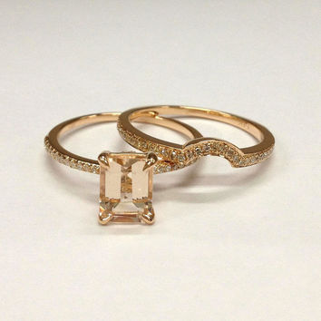 Diamond Wedding Ring Sets!Morganite Engagement Ring 14K Rose Gold,6x8mm Emerald Cut Morganite,Claw Prongs,Curved Stackable Matching Band