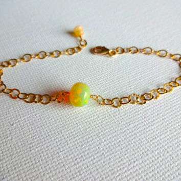 Large High Color Play Natural Ethiopaln Welo Opal and 14k Gold Fill Statement Bracelet or Anklet - Unique; Modern October Birthstone Gift