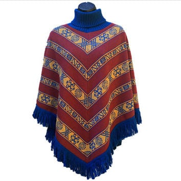 1970's Knit Southwestern Poncho - Rust Red, Gold, & Blue - Aztec / Native American Designs - Blue Turtleneck Collar / Fringe - Boho Chic!
