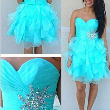 Homecoming Dress,Stunning A-line Strapless Beading Short Prom Dress