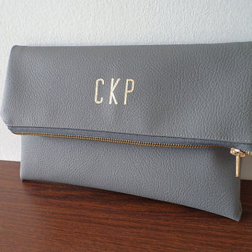 Personalized clutch bag / Grey monogrammed clutch purse
