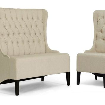Baxton Studio Vincent Beige Linen Modern Loveseat Bench and Chair Set Set of