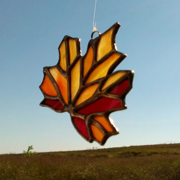 Stained Glass Fall Leaf Sun Catcher Thanksgiving Ornament, Free Shipping