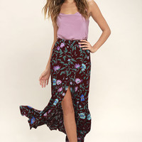 Tell Me About It Plum Purple Floral Print Maxi Skirt