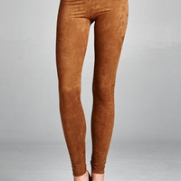 Saddle Brown Faux Suede Stretch Leggings