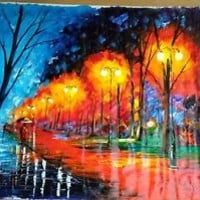 "Fall, Rain, Alley — Oil Painting On Cotton Canvas By Leonid Afremov    36""x30"""