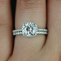 Barra Original Size 14kt White Gold FB Moissanite and Diamonds Cushion Halo Wedding Set (Other metals and stone options available)