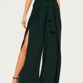 Missguided - Green Satin Split Front Wide Leg Trousers