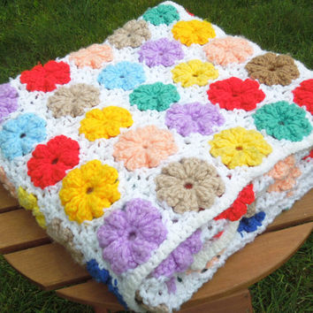 White crochet afghan throw with colorful flowers - red lavender yellow turquoise blue pink teal tan