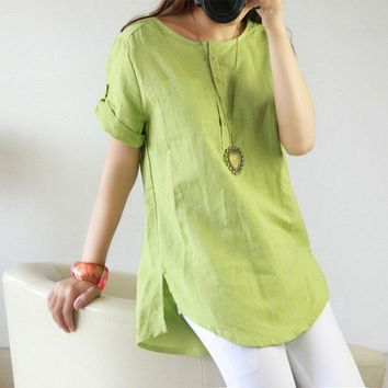 New Summer Casual Women Shirts Woman Clothes Short Sleeve Loose  Cotton Linen Women Tops Female Blouse