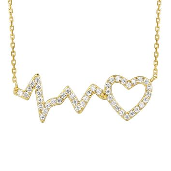 14k Gold Finish Heartbeat Love Heart Pendant Valentine's Set