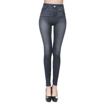 VONE05O New Sexy Women Jeans Skinny Jeggings Stretchy Slim Leggings Skinny Pants Body-hugging imitation cowboy leggings