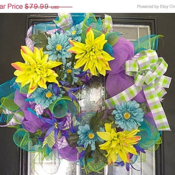On Sale Deco Mesh Summer Floral Wreath, Decoration, Door Hanger Ready To Ship