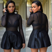 Black Long Sleeve Stripe Sheer Mesh Spliced Romper