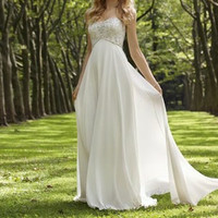 New Beaded Strapless Wedding Party Prom Gown Evening Dress Size 6-8-10-12-14-16