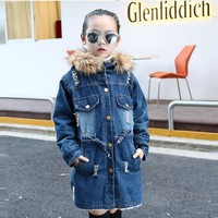 Trendy Teens girls clothes winter Denim girl Fleece Thick jacket children's Warm Hoodie Kids Christmas Outerwear Snow Coat 13 10 years AT_94_13