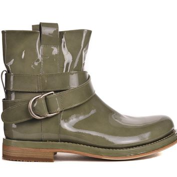 Brunello Cucinelli Womens Green Patent Leather Cross Ankle Boots