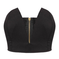 Deep V-neck Bralet In Black