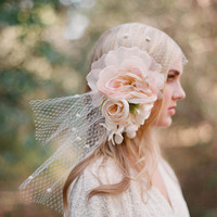 Silk flower bouquet with bandeau birdcage veil - Style # 304 - Ready to Ship with veiling