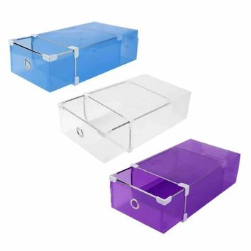 3 Colors Practical Useful Half Transparent Plastic Drawer Shoe Box Case 2 Sizes for Both Men Women DIY Shoe Box Shoes Organizer