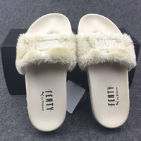 """PUMA"" Rihanna Fenty Leadcat Fur Slipper Shoes ( Apricot )"