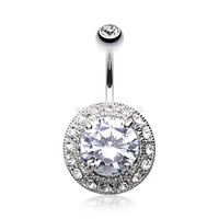 Grand Allure Prong Gem Belly Button Ring (Clear)