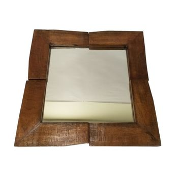 Square Shaped Mango Wood Mirror Frame With 2 Leaves, Brown