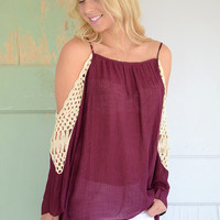 Arabella Cold Shoulder Top- Garnet
