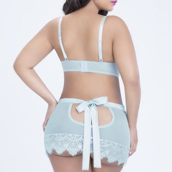 Oh la la Cheri Paris Queen EYELASH LACE SKIRTINI Blue
