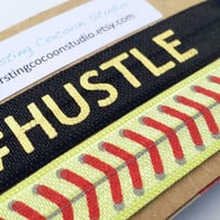 Hustle hair tie and softball hair tie set, black with gold hustle, elastic ponytail holders, yellow softball gift, coach gift, fastpitch