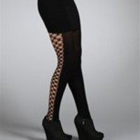 Black Criss Cross Cut Out Tights