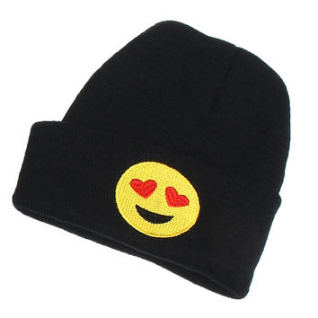 Heart Eyes Emoji Beanie Fashion Winter Warm Wool Unisex Knitted Ski Cap Black Cuffed Skully Hat