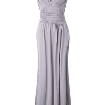 Elegant Women Solid V-Neck Slim High Waist Ruffle Party Maxi Dress