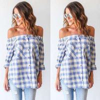 Fashion Casual Buttons Tartan Print Off Shoulder Long Sleeve Irregular Shirt Tops