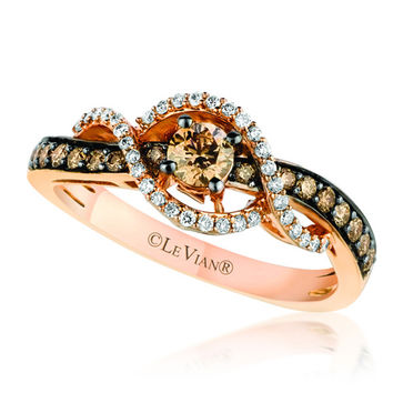 Le Vian 14K Strawberry Gold® Chocolate & Vanilla Diamonds Swirl Ring