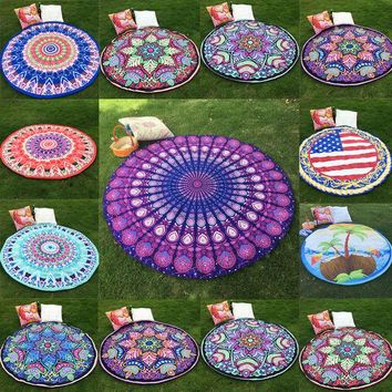 ONETOW 10 Styles Hippie Round Mandala Tapestry Indian Wall Hanging Boho Beach Throw Towel Yoga Mat Home Room Decoration