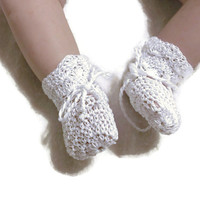 "Baby Booties White Baby Shoes Crochet Booties 3 and half "" Newborn Shoes OOAK Booties Reborn Baby Doll"