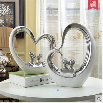 white Silver ceramic lovers home decor crafts room decoration heart and heart ornament porcelain figurines wedding decorations