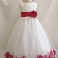 Rose Petal Dress IVORY Flower Girl Wedding Summer Christmas Easter Recital Pageant Bridesmaid Communion Church Toddler Baby Dresses