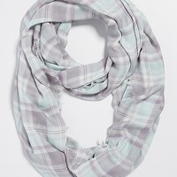 plaid infinity scarf with raw edges in misty morning | maurices