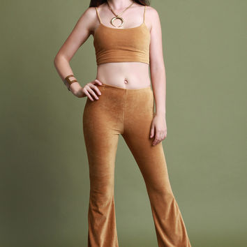 Corduroy Crop Top and Flared Pants Set | UrbanOG