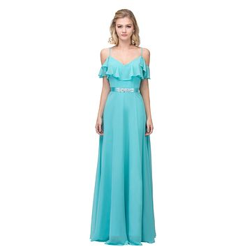 Tiffany Blue Ruffled Cold-Shoulder Long Formal Dress A-line