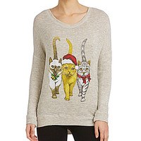 Moa Moa Christmas Cats Top - Grey