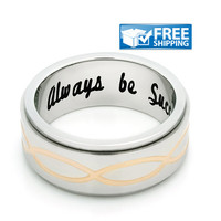 "Unisex Friend Gift - Spinner Purity Ring Engraved on Inside with ""Always Be Successful"", Sizes 6 to 9"