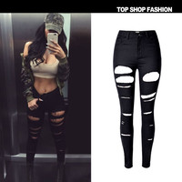 Women's Fashion High Waist Stretch Slim Denim With Pocket Skinny Pants [10734935503]