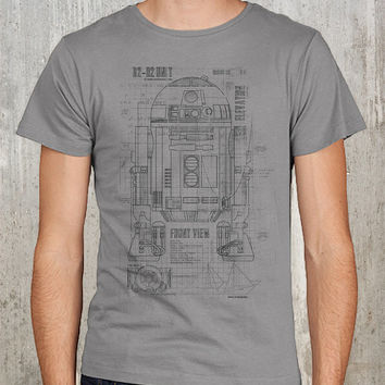Grunge Blueprints of R2D2 Unit - Men's T-Shirt - Available in S, M, L, XL and 2XL