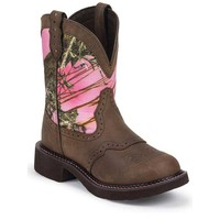 Justin Women's L9610 Gypsy Round Toe Boots - Aged Bark with Pink Camo