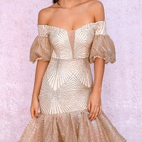 Midnight Madness Beige Gold Glitter Geometric Pattern Short Puff Sleeves Off The Shoulder Ruffle Hem Bodycon Midi Dress - Sold Out